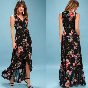 Lulus Tawny Black Floral Print Maxi Wrap Dress S